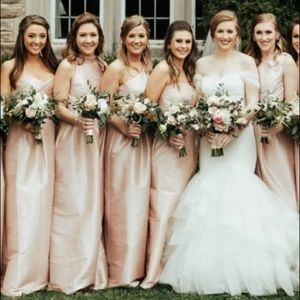 Featured far left, pink silk strapless dress